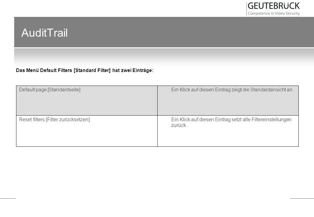 Das Menü Default Filters [Standard Filter] hat zwei Einträge: